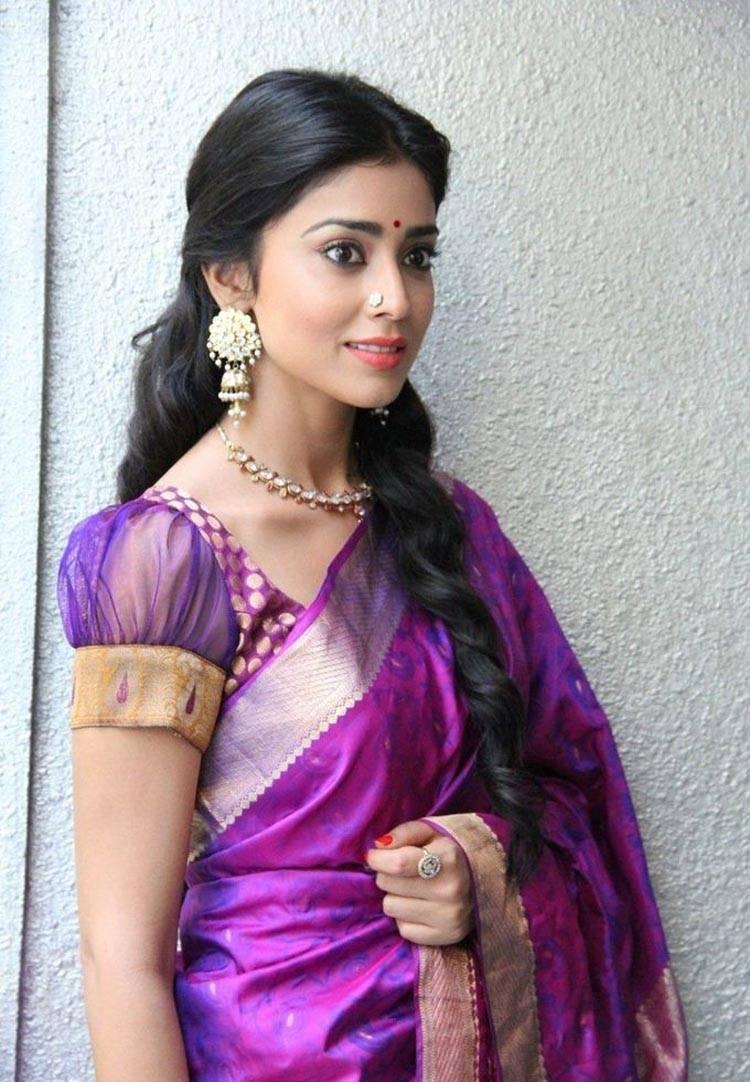 Shriya Saran Gorgeous Photos In Violet Saree