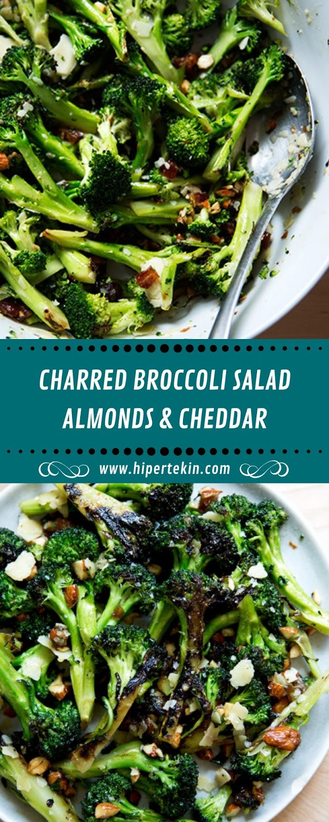 CHARRED BROCCOLI SALAD, ALMONDS & CHEDDAR