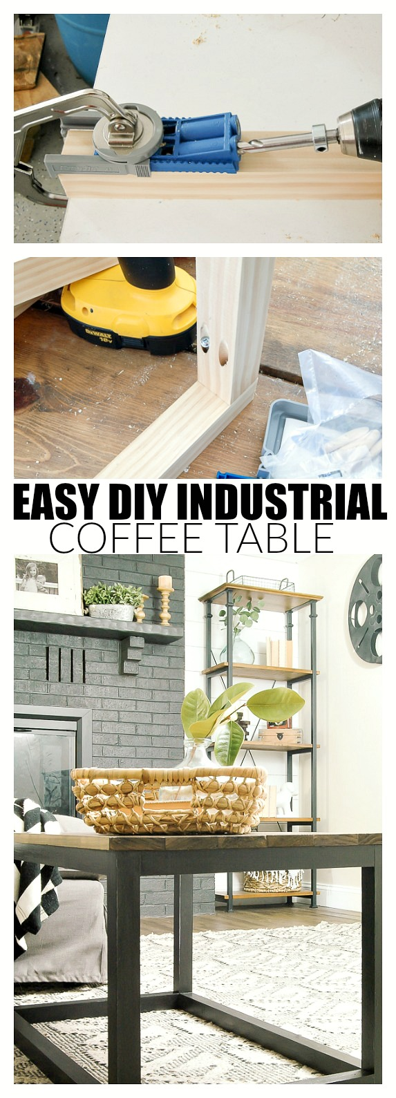 How to build an easy industrial coffee table using the Kreg Jig.