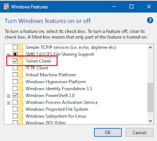 Beri Centang untuk Mengaktifkan Fitur Telnet Windows 10