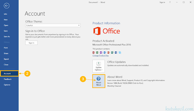 cara melihat versi microsoft office 2013