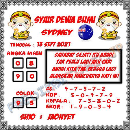 Syair Dewa Bumi Sidney Hari Ini 13-09-2021