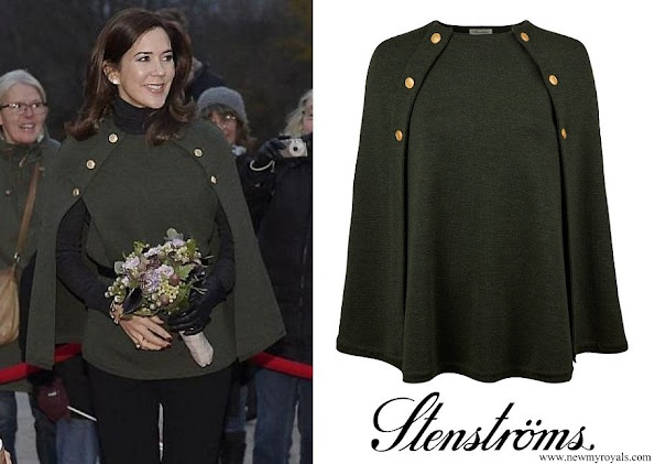 Crown Princess Mary wore Stenströms Pine Green Merino wool cape