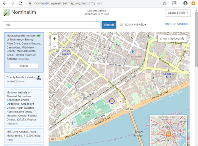 Nominatim geocoding output