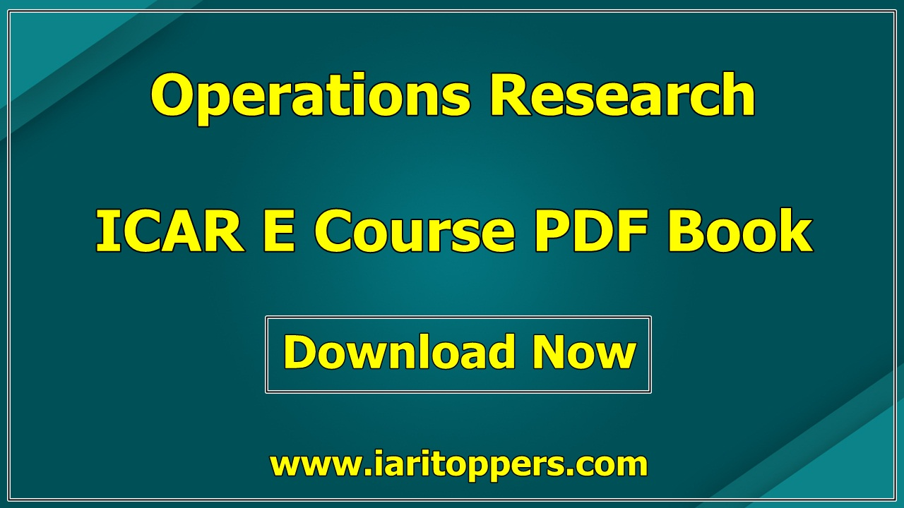 Operations Research ICAR ECourse PDF Download E Krishi Shiksha