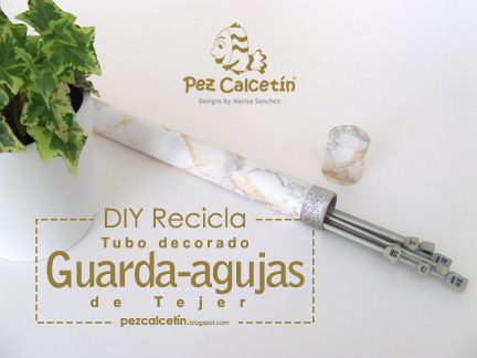 """pez calcetin"" ""tubo carton"" ""guarda-agujas"" ""tricotar"" ""knitting"" ""lana"""
