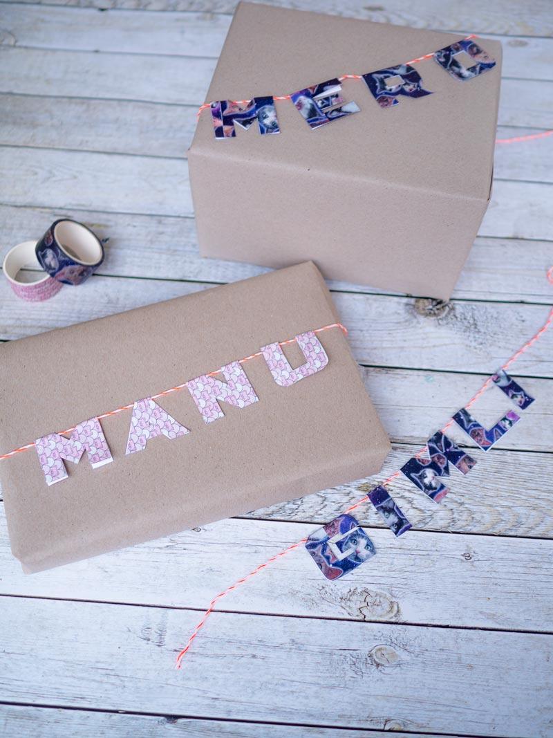 Geschenkverpackung mit Washi Tape