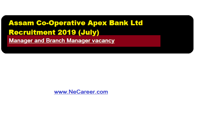 Assam Co-Operative Apex Bank Ltd Recruitment 2019 (July) | Manager and Branch Manager vacancy