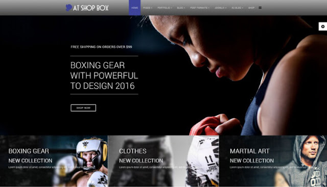 AT shop box бесплатный шаблон для joomla интернет магазин спорт