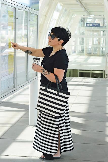 Spódnica maxi, paski, biało-czarne