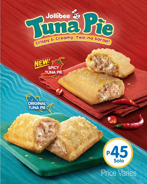 Jollibee Tuna Pie Variants: Original Tuna Pie and the new Spicy Tuna Pie