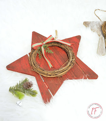 Hand Painted Red Christmas Wood Stars