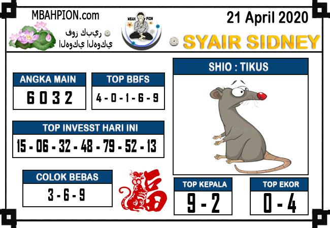 Prediksi Sydney 21 April 2020 - Syair Mbah Pion
