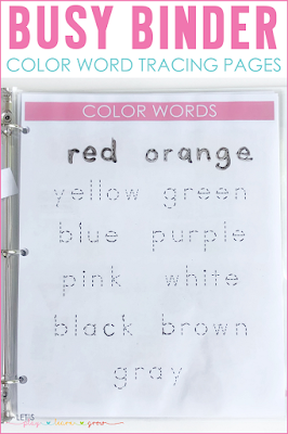 Color Word Tracing Pages