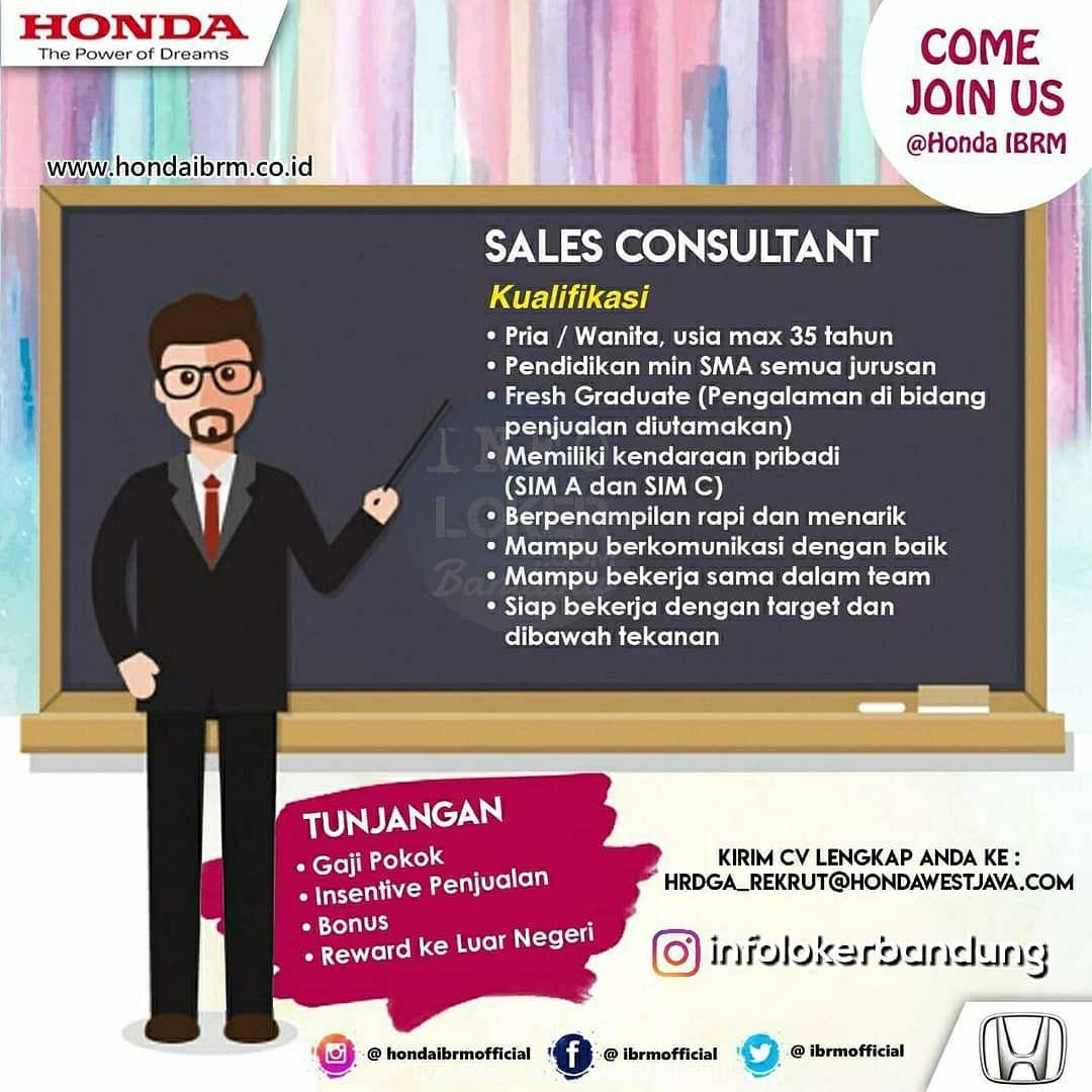 Lowongan Kerja Sales Consultant Honda IBRM Bandung November 2018