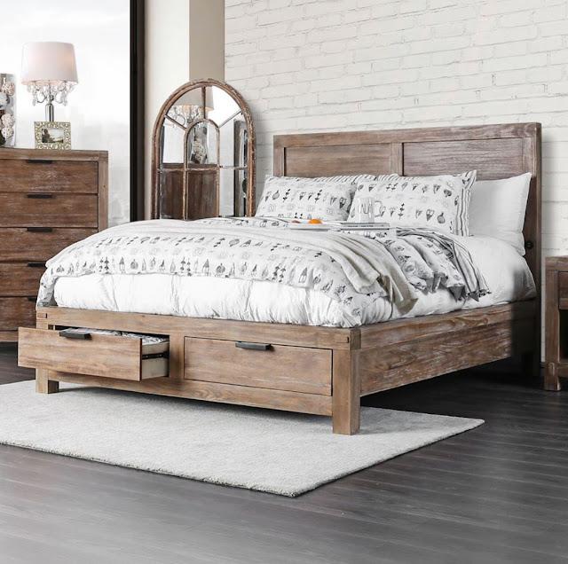 Thiết kế giường ngủ gỗ có ngăn kéo