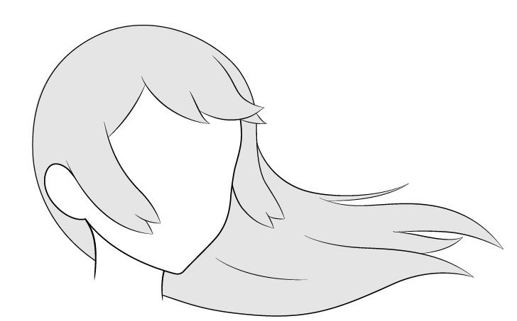 Anime rambut panjang bertiup angin 3/4 tampilan gambar