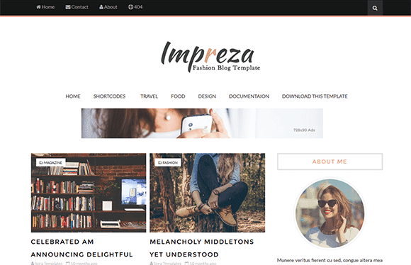 Impreza responsive blogger template free download