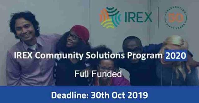 فرصة للحصول على زمالة منظمة  إيركس IREX في الولايات المتحدة الأمريكية (ممولة بالكامل)