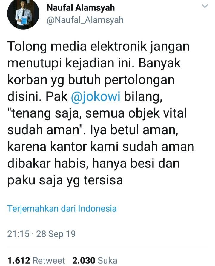 Colek Presiden Jokowi Soal Wamena Aman, Korban: Aman Habis Dibakar