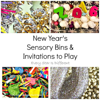 New Year's sensory bins and invitations to play