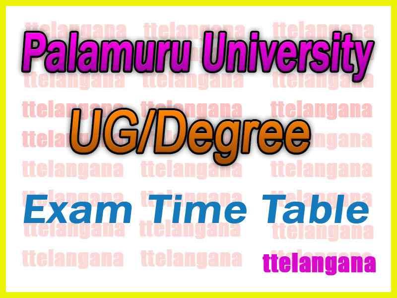 Palamuru University UG 1st 2nd 3rd Yr Annual Practical Exam Time Table