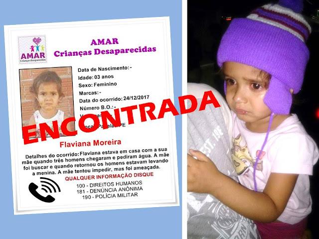 Criança de três anos raptada no Município de Panelas é encontrada