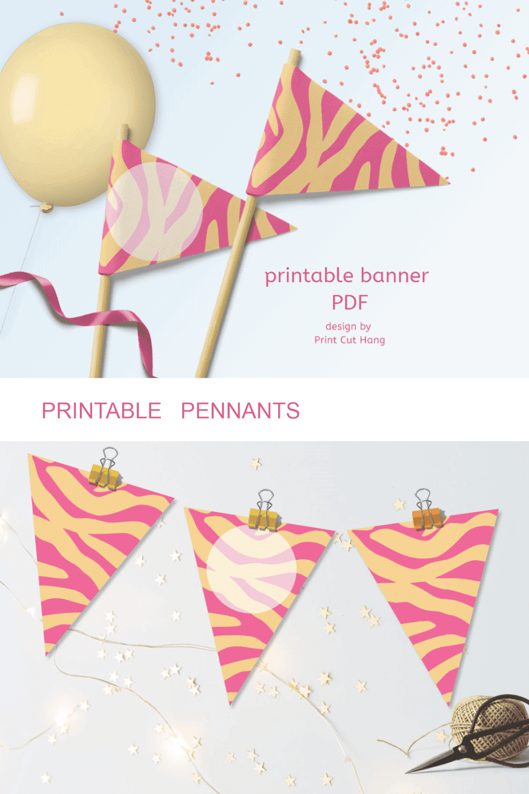 ZEBRA PENNANTS PINK ORANGE