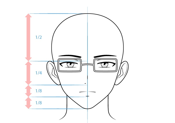 Anime gambar wajah karakter intelektual laki-laki