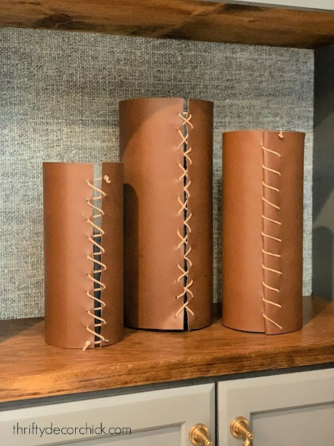 faux leather wrapped vases