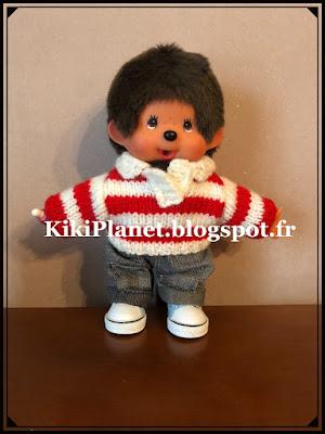 "Pull ""Kauri"" fait main pour Kiki ou Monchhichi tricot knitting vintage vêtement poupée"