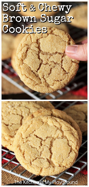 Soft & Chewy Brown Sugar Cookies ~ With their crackly tops, tender middles, & unmistakable brown sugar flavor, these soft & chewy cookies will make frequent appearances in your cookie jar! For the brown sugar fans out there, you may just find these to be your new favorite sugar cookie. #brownsugarcookies #sugarcookies  www.thekitchenismyplayground.com