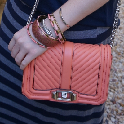 Rebecca Minkoff chevron quilted small Love crossbody bag in pale coral with peach bracelet stack | awayfromtheblue
