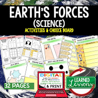 Earth's Forces Activities, Earth Science Activities, Choice Boards, Digital Graphic Organizers