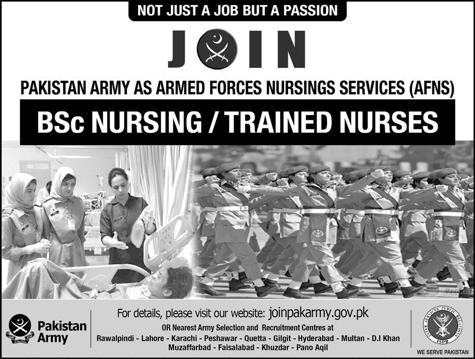 bsc nursing jobs in pak army