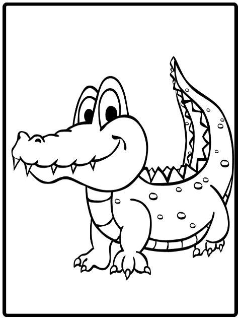 Hình tô màu con cá sấu dễ thương