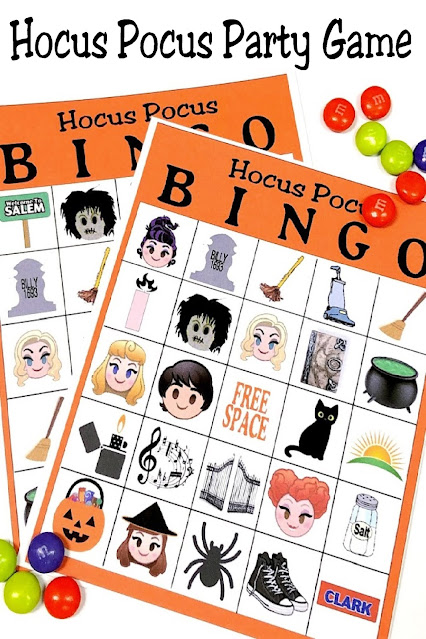 Play this Hocus Pocus bingo game at your Halloween party. This printable game is perfect for in-person parties or Zoom parties this Halloween.  And it's free with lots of other great Hocus Pocus party ideas. Grab it now!
