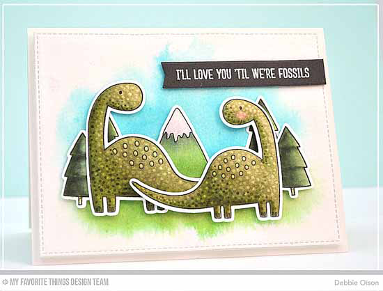 Handmade Card from Debbie Olson featuring  Prehistoric Friends stamp set and Die-namics and Blueprints 13 and Blueprints 27 Die-namics #mftstamps