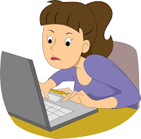 Girl Writer with Laptop Cartoon