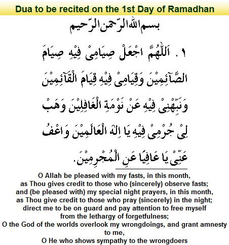 Dua First Day of Ramadan 2018 [Daily Supplications for 30 Days of Ramadan] First Day of Ramadan 2018 (Ramzan 2018) Supplications=Fast Sincerely