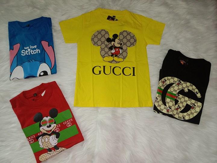 Kaos Anak Gucci/Distro 1-8 Tahun Warna Kuning Bahan Katun