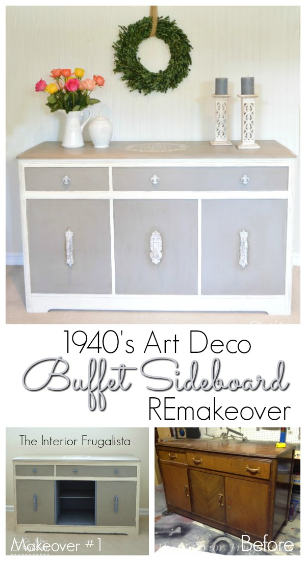 1940's Art Deco Waterfall Buffet Sideboard REmakeover