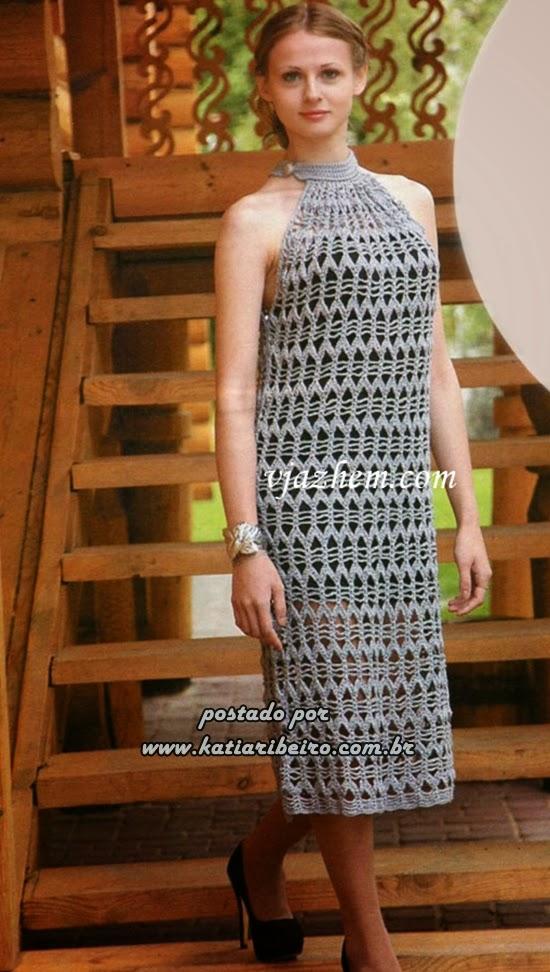 Vestido em crochê com gráfico - Katia Ribeiro Crochê Moda e Decoração c6db04cdfc7