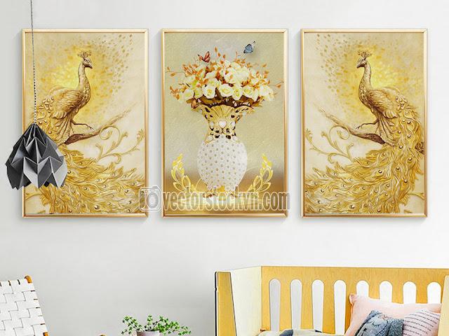 Cặp chim Công 3D tranh dán Tường.