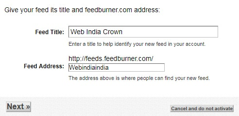 Feed Address Enter name