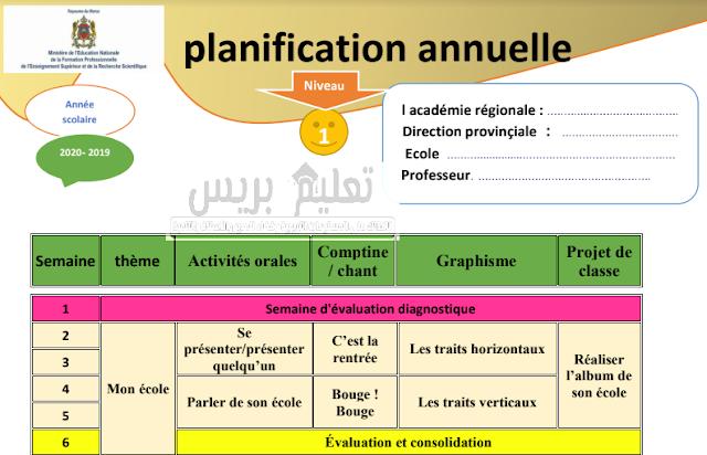 التوزيع السنوي لمادة اللغة الفرنسية للمستوى الأول للموسم الدراسي 2019/2020