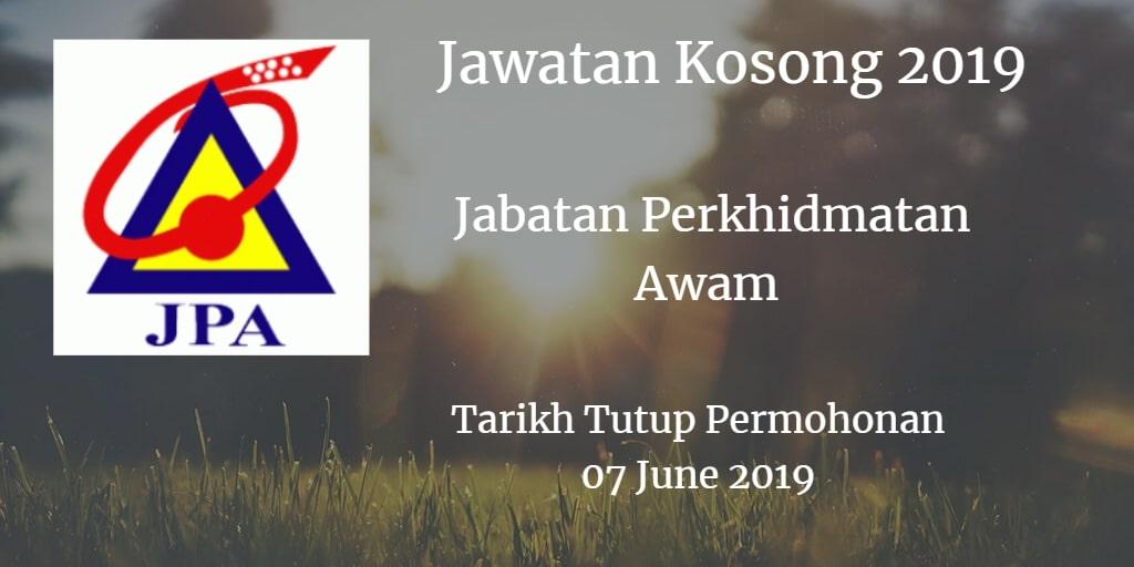 Jawatan Kosong JPA 07 June 2019