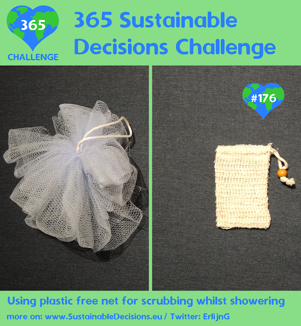 Using plastic free net for scrubbing whilst showering reducing plastic waste