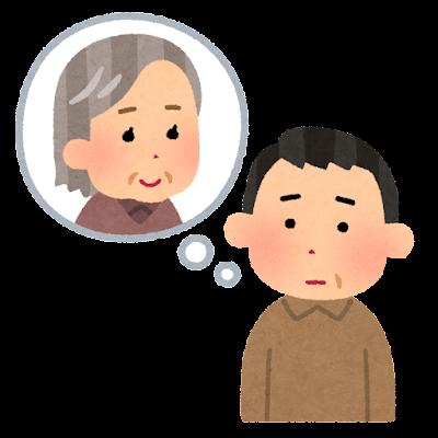 親を心配する人のイラスト(中年男性)