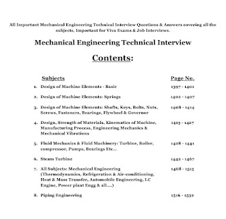 mechanical Technical Interview Contents
